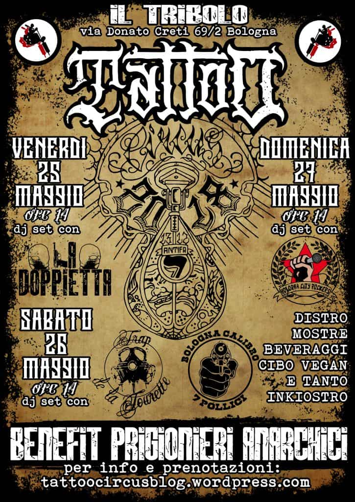 Bologna - Tattoo circus benefit prigionieri anarchici