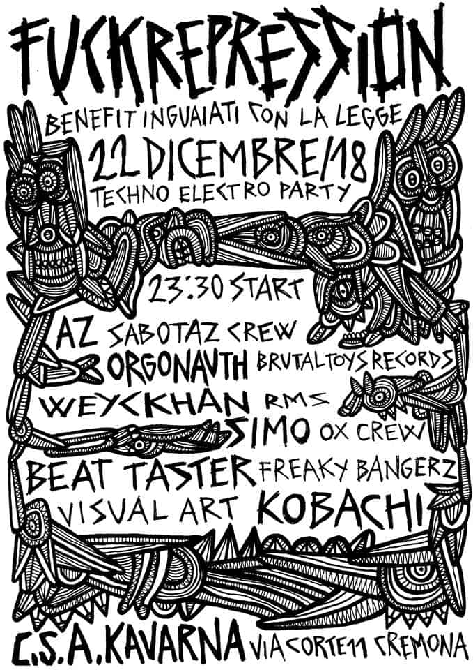 Cremona - Techno Electro Party benefit inguaiati con la legge